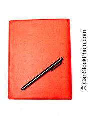 rojo, copybook, y, pluma