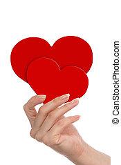 rojo, corazones, en, mano