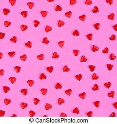 rojo, corazones, en, rosa, fondo.