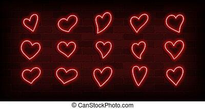 rojo, corazones, neón, conjunto