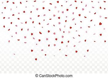 rojo, corazones, pétalos, caer, blanco, plano de fondo