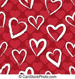rojo, corazones, patrón