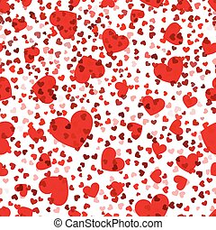 rojo, corazones, seamless, pattern., vector, amor,...