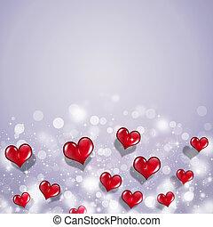 rojo, corazones, valentine, feriado, tarjeta