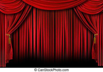 rojo, cortinas, con, profundo, sombras