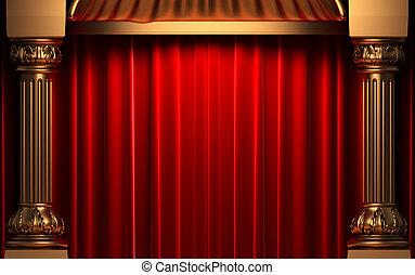 rojo, cortinas de terciopelo, atrás, el, oro, columnas