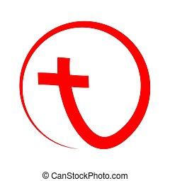 rojo, cristiano, cruz, icon., vector, illustration.