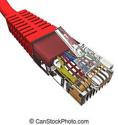 rojo, cuerda, con, conector, rj45, en, un, fondo blanco