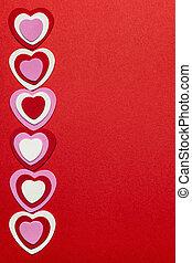 rojo, día de valentines, plano de fondo, con, corazones
