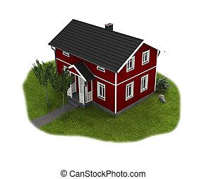 rojo, de madera, escandinavo, cabaña, ingenio