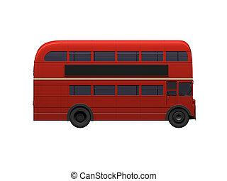 rojo, decker doble, autobus, encima, blanco