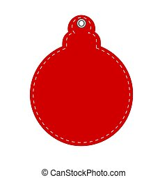 rojo, decorativo, saludo, nuevo, tarjeta, ilustración, pelota, año, o, acción, navidad, vector, hangtag