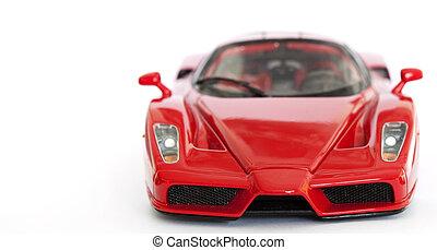 rojo, deporte, coche, miniatura, blanco, plano de fondo