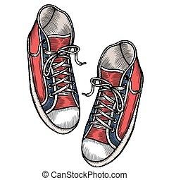 rojo, deportes, zapatillas