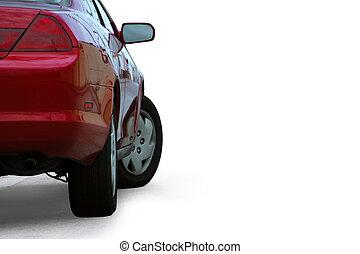 rojo, deportivo, coche, detalle, aislado, blanco, plano de fondo, y, contorneado, con, un, recorte, path.