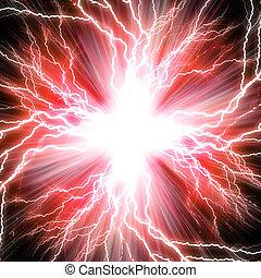 rojo, destello, eléctrico, plano de fondo, relámpago