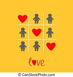 rojo, diseño, corazón, tic, dedo del pie, amor, señal, tres, tac, icono, hombre, plano de fondo, game., plano, amarillo, mujer