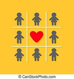 rojo, diseño, corazón, tic, dedo del pie, señal, tac, icono...