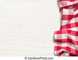 rojo, doblado, mantel, encima, blanqueado, tabla de madera