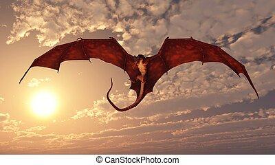 rojo, dragón, atacar, en, ocaso