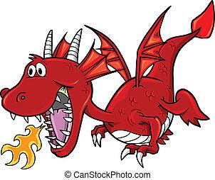 rojo, dragón, vector, ilustración, arte