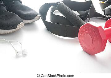 rojo, dumbbells, y, deporte, uso, en, fittness, fondo., deporte, uso, deporte, moda, deporte, accesorios, deporte, equipment.