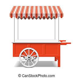 rojo, el mercado de farmer, carrito