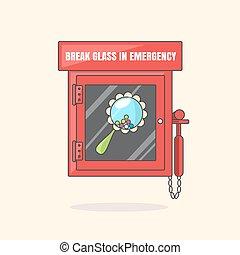 rojo, emergencia, caja, con, en caso de emergencia, quebradizo, vidrio., caja