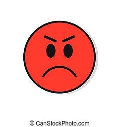 Emoción Diablo Gente Enojado Negativo Cara Cuernos Caricatura