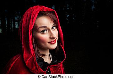 rojo, equitación, capucha, retrato