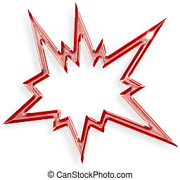 rojo, estrella explosiva, aislado, blanco, plano de fondo