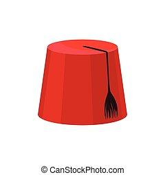 rojo, fez, con, negro, tassel., nacional, turco, headwear.,...