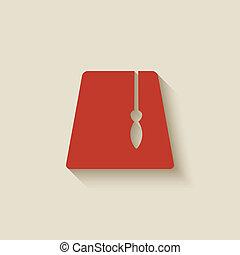 rojo, fez, elemento del diseño