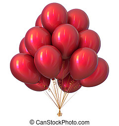 rojo, fiesta, globos, feliz cumpleaños, decoración, brillante