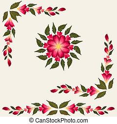 rojo, flores secadas, con, hojas verdes, aislado, en, crema, plano de fondo