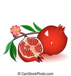 rojo, garnets, con, flores