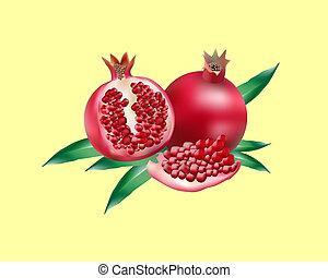 rojo, granada, con, hojas