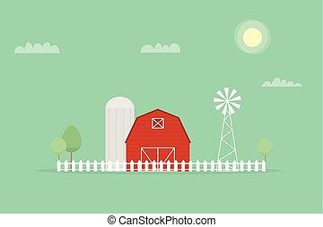 rojo, granja, molino de viento, y, silos