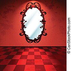 rojo, habitación, con, espejo