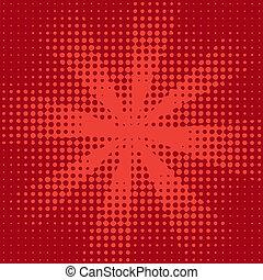 rojo, halftone, rayo de sol