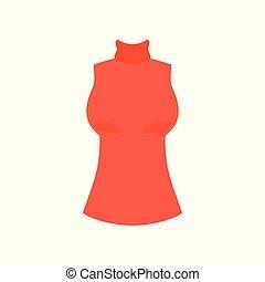 rojo, hembra, cima, con, alto, cuello, moda, mujeres, ropa, vector, ilustración, en, un, fondo blanco
