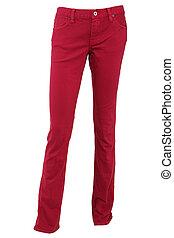 rojo, hembra, pantalones