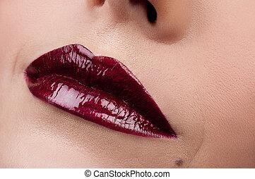 rojo, hermoso, lips.