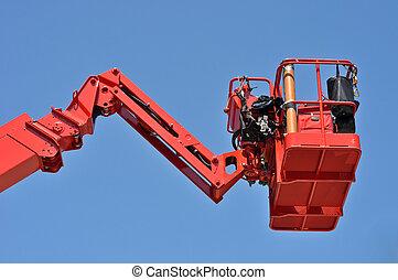 rojo, hidráulico, construcción, cuna, contra, el, cielo azul