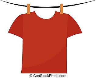 rojo, ilustración, blanco, vector, fondo., camisa