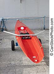 rojo, individuo, carreras, remo, boat.