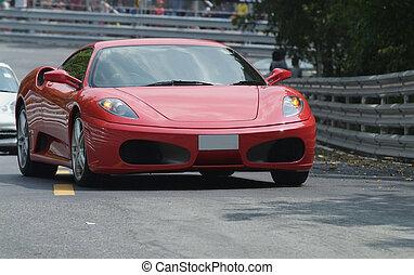 rojo, italiano, coche deportivo