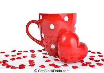 rojo, jarra, y, corazón