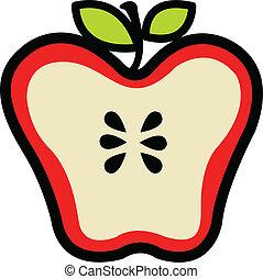 rojo, jugoso, manzana, cortar, en, mitad