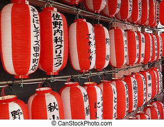 rojo, linterna japonesa